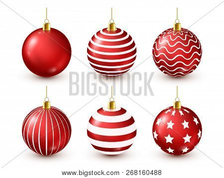 Christmas Tree Shiny Red Balls Set. New Year Decoration. Winter Season. December Holidays. Greeting