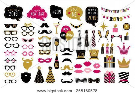 Happy New Year 2019 Photo Booth Props. New Year Eve Party.  Photobooth Vector Set For Masquerade. Bl