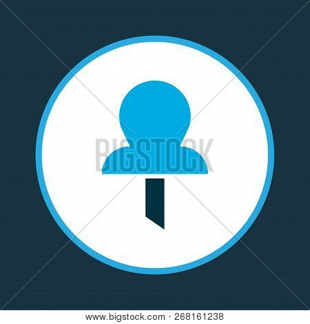 Pin icon colored symbol. Premium quality isolated pushpin element in trendy style. poster