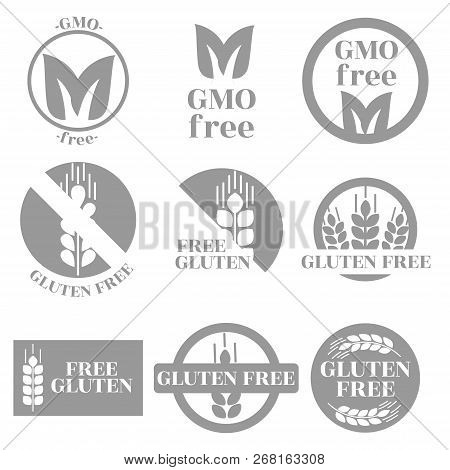 A Set Of Trade Marks Depicting And Informing About The Absence Of Gmos And Gluten In Products. Monoc