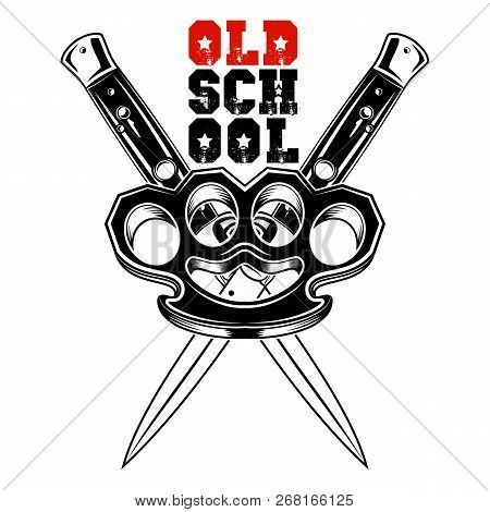 Vector Image Of Brass Knuckles And Two Switchblades. Street Weapon. Punks. Old School. Knuckle Duste