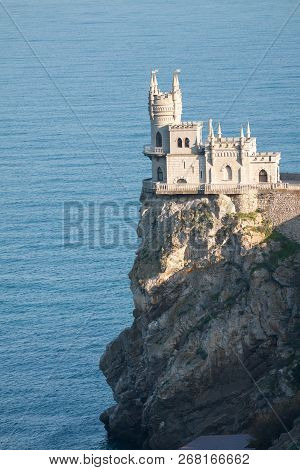 Amazing Castle Swallows Nest On A Rock At Black Sea, Crimea, Russia.