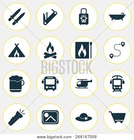 Journey Icons Set With Electric Train, Beer, Cart And Other Shopping Trolley Elements. Isolated  Ill