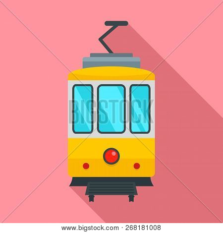 City Tramcar Icon. Flat Illustration Of City Tramcar Vector Icon For Web Design