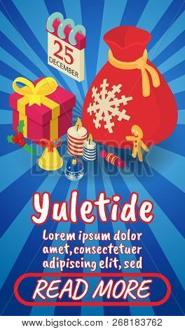 Yuletide Concept Banner. Isometric Banner Of Yuletide Comics Vector Concept For Web, Giftcard And Po