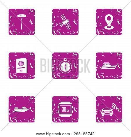 Position Place Icons Set. Grunge Set Of 9 Position Place Vector Icons For Web Isolated On White Back