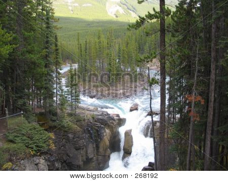 Island Upstream From Upper Sunwapta Falls - Jasper National Park, Alberta, Canada