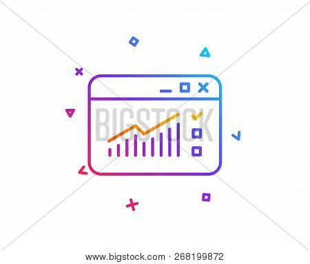 Website Traffic Line Icon. Report Chart Or Sales Growth Sign. Analysis And Statistics Data Symbol. G