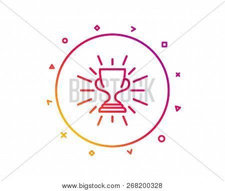 Award Cup Line Icon. Winner Trophy Symbol. Sports Achievement Sign. Gradient Pattern Line Button. Tr