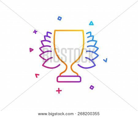 Award Cup Line Icon. Winner Trophy With Laurel Wreath Symbol. Sports Achievement Sign. Gradient Line