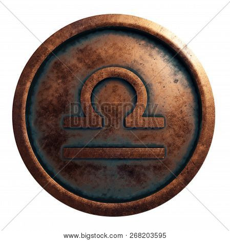 Horoscope Sign Libra In The Copper Circle, 3d Rendering