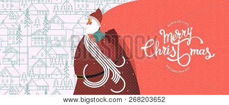 Santa Claus With A Big Bag, New Year And Christmas Snowy Winter Pattern With Coniferous Forest, Pine