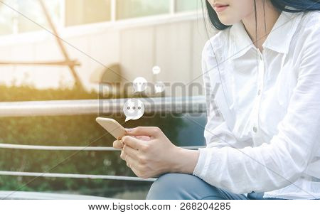 Hand Of Woman Typing Text On Mobile Smartphone. Online Live Chat Chatting On Application Communicati