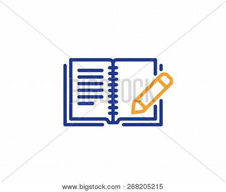 Feedback Line Icon. Book With Pencil Sign. Copywriting Symbol. Colorful Outline Concept. Blue And Or