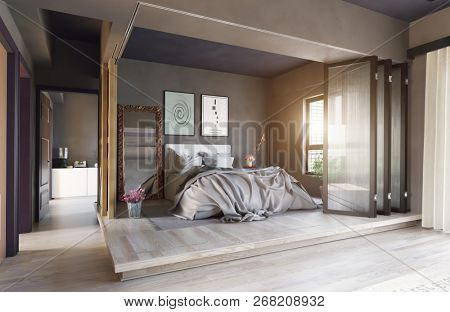 modern bedroom interior zone partition concept. 3d rendering