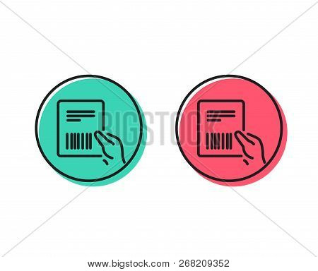 Parcel Invoice Line Icon. Delivery Document Sign. Package Shipping Symbol. Positive And Negative Cir