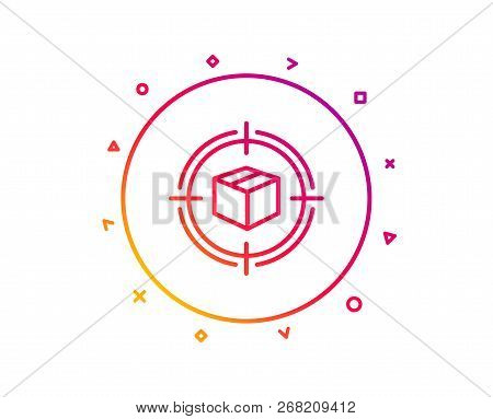 Parcel Tracking Line Icon. Delivery Monitoring Sign. Shipping Box In Target Symbol. Gradient Pattern