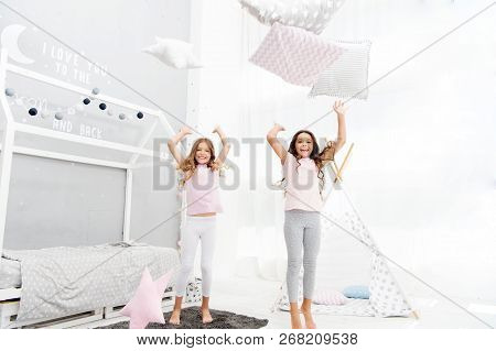 Pillow Fight Pajama Party. Evening Time For Fun. Sleepover Party Ideas. Girls Happy Best Friends Or