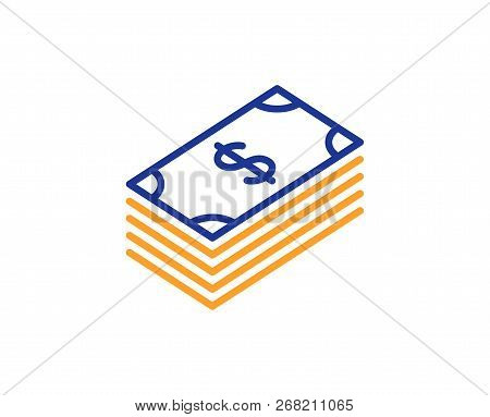 Cash Money Line Icon. Banking Currency Sign. Dollar Or Usd Symbol. Colorful Outline Concept. Blue An