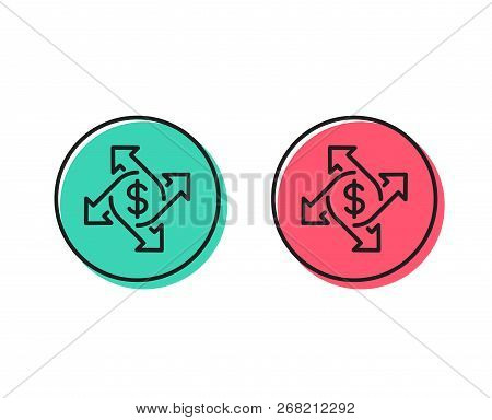 Payment Exchange Line Icon. Dollar Sign. Finance Transfer Symbol. Positive And Negative Circle Butto