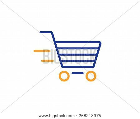 Delivery Service Line Icon. Shopping Cart Sign. Express Online Buying. Supermarket Basket Symbol. Co