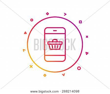 Mobile Shopping Cart Line Icon. Smartphone Online Buying Sign. Supermarket Basket Symbol. Gradient P