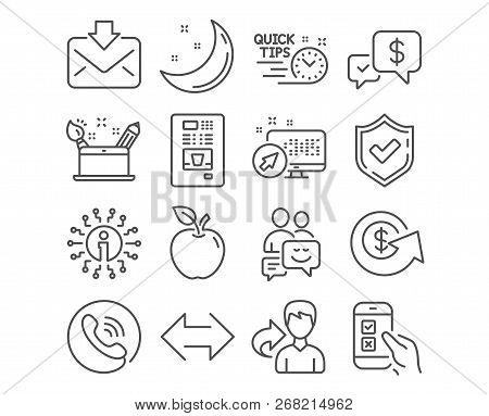 Set Of Mobile Survey, Creativity Concept And Dollar Exchange Icons. Payment Received, Quick Tips And