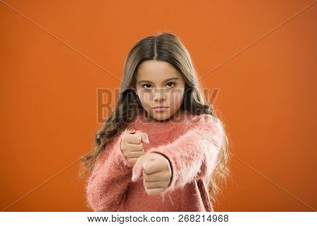 Girl Child Cute But Strong. Self Defense For Kids. Defend Innocence. How Teach Kids To Defend Themse