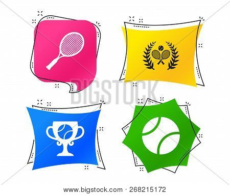 Tennis Ball And Rackets Icons. Winner Cup Sign. Sport Laurel Wreath Winner Award Symbol. Geometric C
