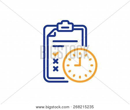 Exam Time Line Icon. Checklist Sign. Colorful Outline Concept. Blue And Orange Thin Line Color Icon.