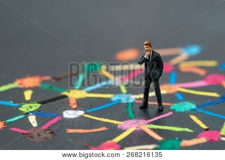 Anti Social Man, Business Connection Or Social Network Concept, Miniature People Businessman Standin
