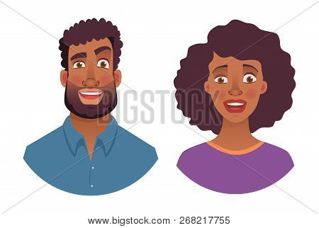 Portrait Of African Man And Woman. Emotions Of African American Woman Face. Facial Expression Men Ve
