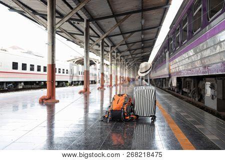 Traveler Belongings At Train Station In Chiang Mai Train Station, Thailand