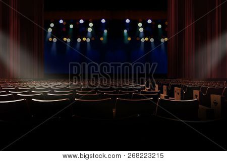Empty Seat In Vintage Auditorium Or Theater With Lights On Stage.
