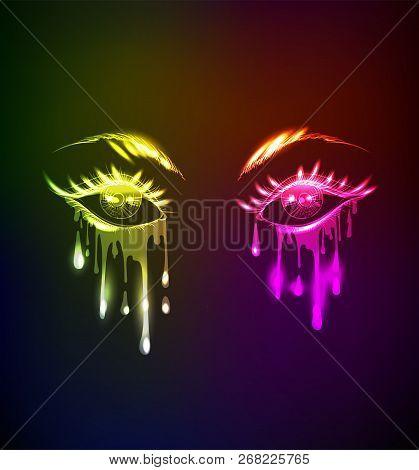 Sexy Crying  Eyes. Neon Style On Black Background. Light Eyes