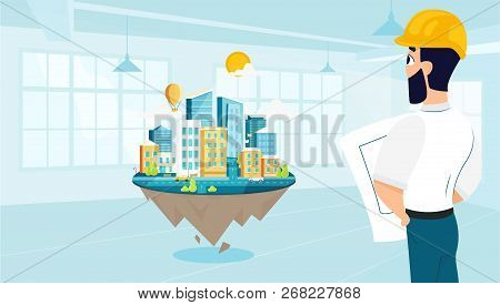 Man Architect Designs The Architecture Of The City. Vector Illustration Of Working Cartoon Character