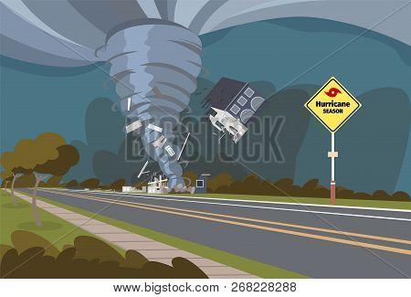 Vector Illustration Of A Destructive Hurricane. Vector Illustration Of A Cartoon Hurricane Destroyin