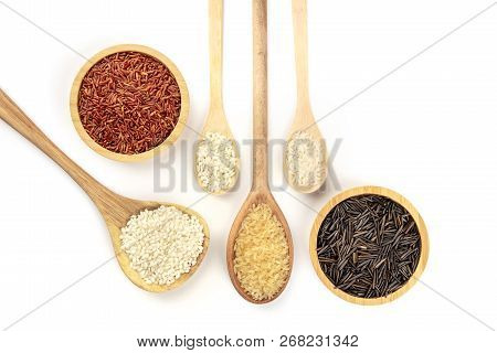 Various Types Of Rice, Shot From Above On A White Background With A Place For Text. White, Red, Brow