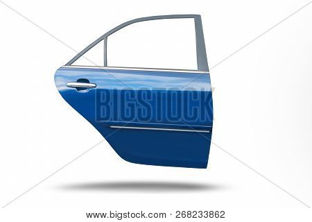Blue Car Door Isolated On White Background With Clip Path