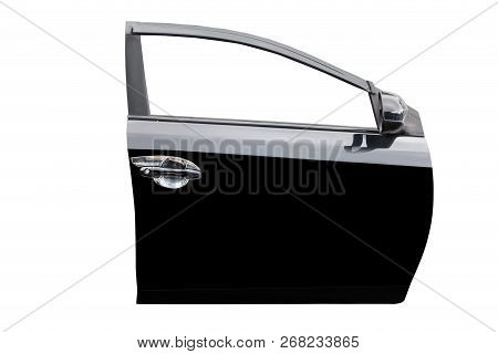 Black Car Door Isolated On White Background With Clip Path