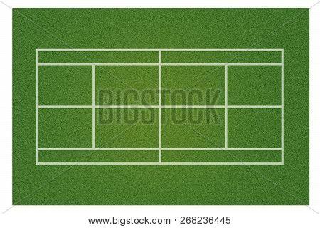 A Realistic Textured Green Grass Tennis Court