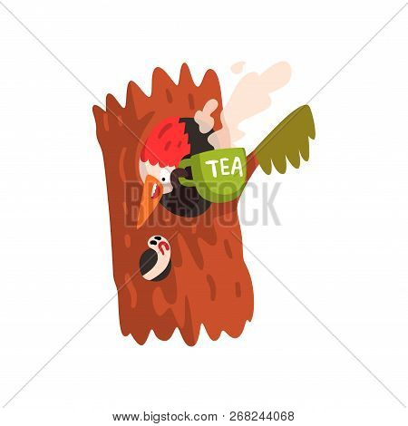 Funny Woodpecker Sitting In The Hollow With A Cup Of Tea, Cute Bird Cartoon Character Vector Illustr