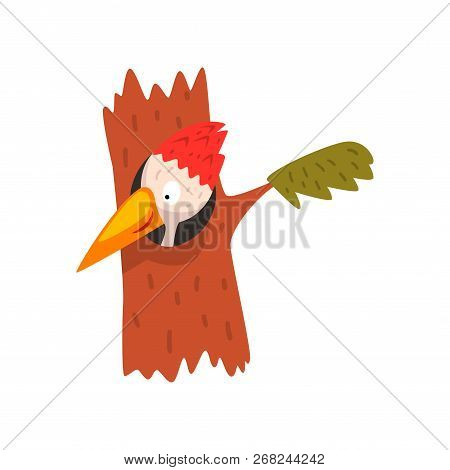 Cute Woodpecker Looking Out Of The Hollow, Funny Bird Cartoon Character Vector Illustration On A Whi