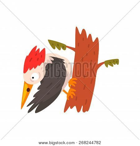 Cute Woodpecker Sitting On A Tree And Looking Down, Funny Bird Cartoon Character Vector Illustration