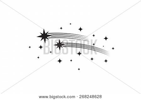 Stars With Trails. Comets Black Silhouettes. Star Shooting And Stardust, Rocket Trail Vector Illustr