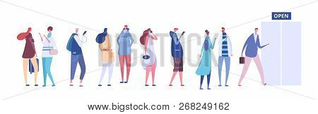 People In Queue. Men And Women In Casual Clothes, Persons In Line Outside Open Store Door. Vector Co