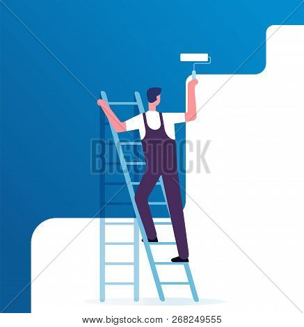 Painter Painting Wall. Worker On Ladder Paints Home. Repair Service And Renovation Vector Concept. I