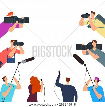 Broadcast Interview. Tv Journalists With Camera And Microphones Online. News On Air Vector Concept.