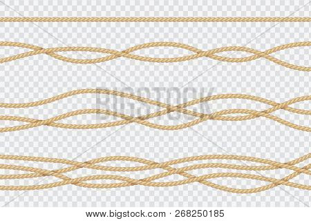 Realistic Rope Set. Nautical Textured Cords. Close Up Sailors Strings Vector 3d Isolated Collection.