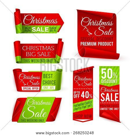 Christmas Sale Banners. Red Silk Ribbons With Christmas Discount And Winter Xmas Holiday Offer Text.